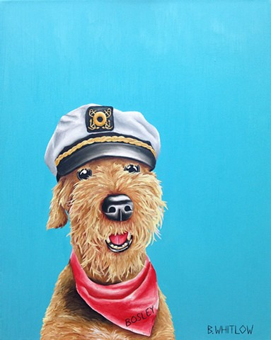 """Weigh anchor!  Adventure is on the horizon!"" - Bosley Whimsical Airedale Pet Portrait by Beth Whitlow"