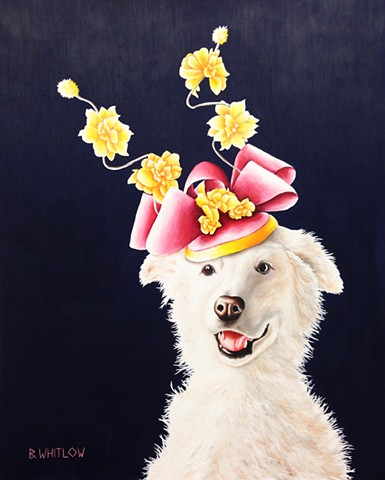 """I once devoured all the clotted cream at afternoon tea, and I haven't been invited back."" - Penny.  Whimsical Rescue Dog Pet Portrait by Beth Whitlow"