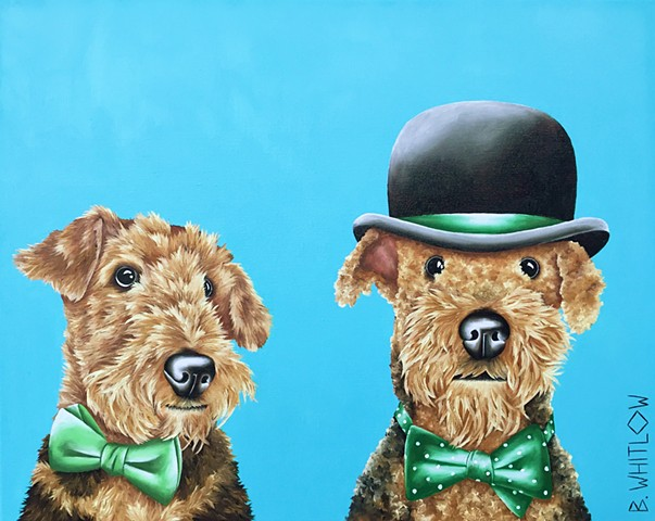 """My brother is always there when needed...like when the vacuum cleaner is on."" - Duke and Teddy.  Whimsical Airedale Terrier Dog Pet Portrait"