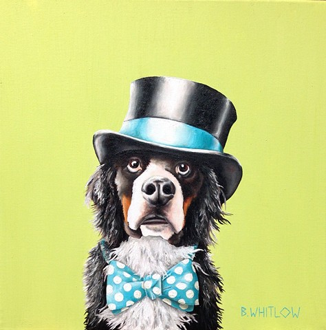 """I'm off to see the world, a dog with great expectations."" - Toben  Whimsical pet portrait by Beth Whitlow"