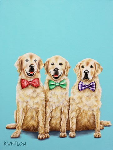 """We recommend living life one pool party to the next.  It's GOLDEN!""  Golden Retriever Oil Painting Pet Dog Portrait"