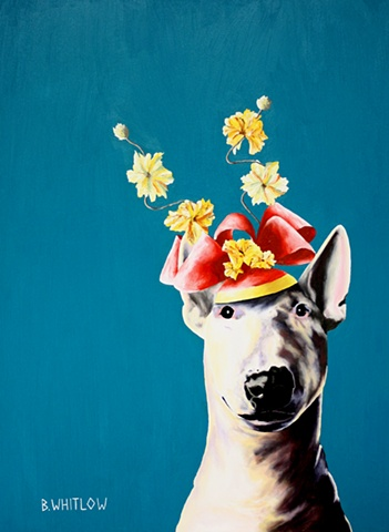 Dog Art, Pet Portrait, Bull Terrier, Whimsical, Fascinator