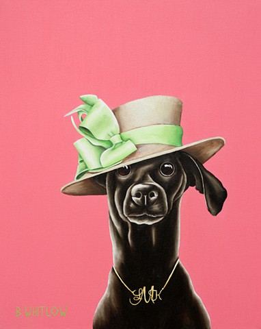 """Darlings, you can't be fashionable without confidence!"" - Lisa Marie   Whimsical Rescue Dog Pet Portrait by Beth Whitlow"