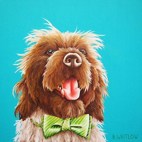 Wire haired pointing griffon whimsical oil painting pet portrait dog portrait
