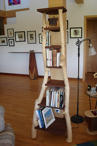Custommade Branch Bookshelf: peeled pine branches and walnut shelves