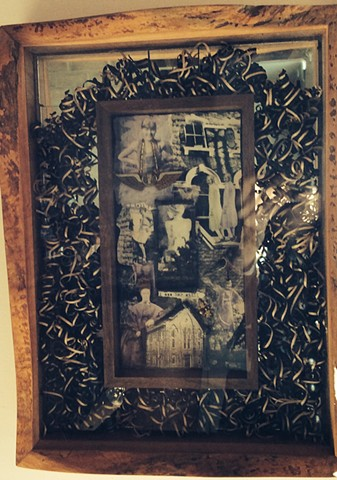 Live edge wooden frame with themed collage