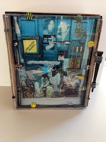 Collage Cabinet with cut nail wired handle