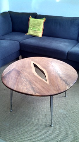 Mid-Century Modern Walnut coffee table with 50's Gazelle legs