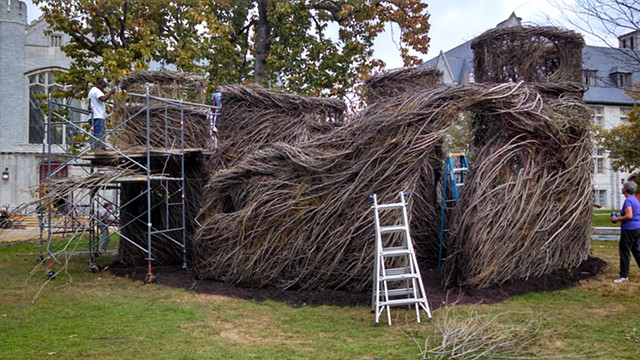 "Patrick Dougherty Stickwork Project ""Walk on the Wild Side nearly complete"