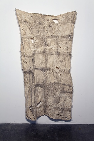 latex tapestry, molding of cobblestone road, dirt imprint, sculpture made by Missy Engelhardt