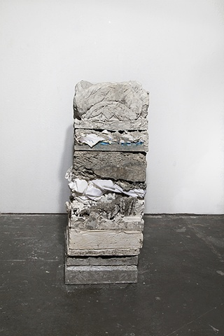 cement stacked sculpture, paper, fabric, made by missy Engelhardt