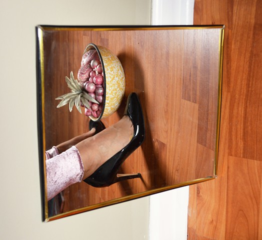 photograph of woman high heels fruit mirror by artist Robyn LeRoy-Evans