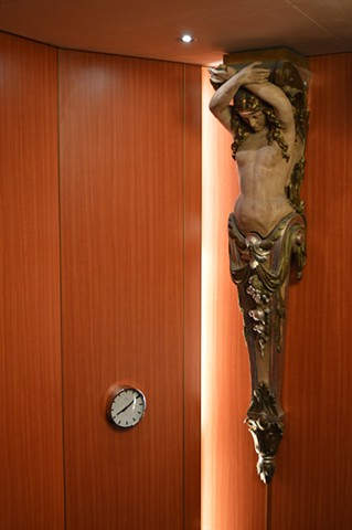 photograph of clock mermaid statue pillar cruise ship by Robyn LeRoy-Evans