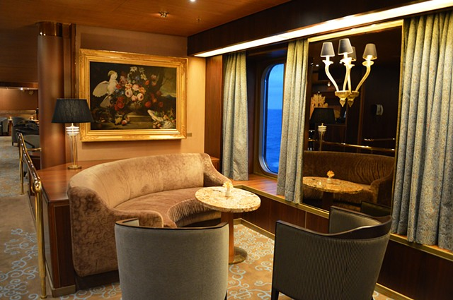 photograph of cruiseship interior lounge blue sea by Robyn LeRoy-Evans