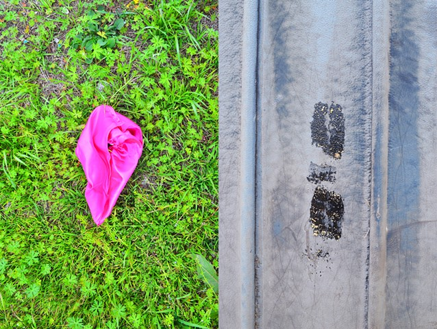 photograph of pink yonic fabric green grass footprint metal by Robyn LeRoy-Evans