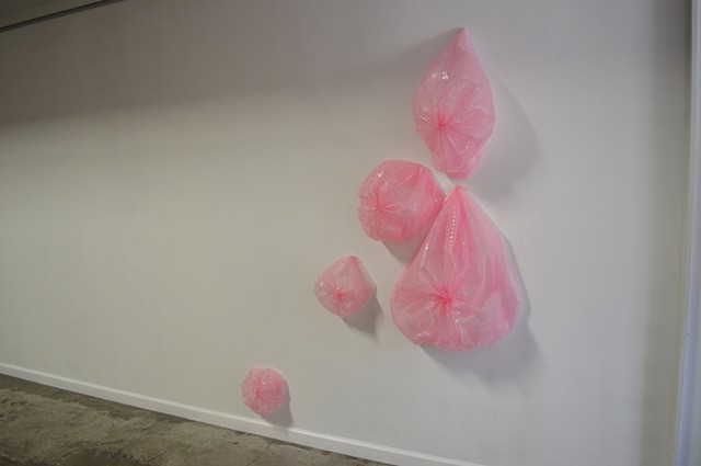pink bubblewrap sculpture installation breasts by Robyn LeRoy-Evans New Orleans Guts & Vigor
