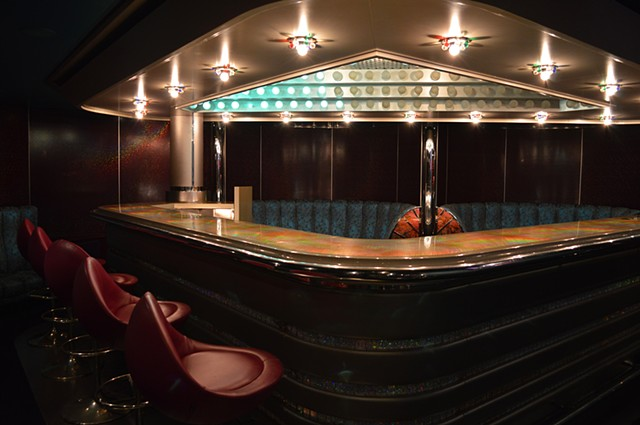 photograph of bar night futuristic retro cruise ship interior design by Robyn LeRoy-Evans