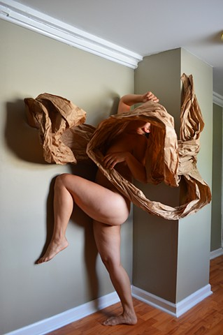 photograph of nude woman brown paper studio by Robyn LeRoy-Evans