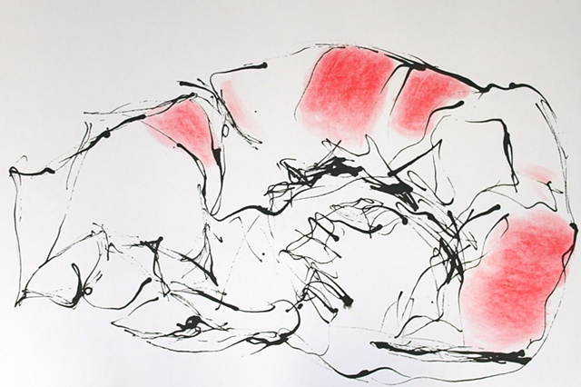ink red pastel drawing on paper by Robyn LeRoy-Evans