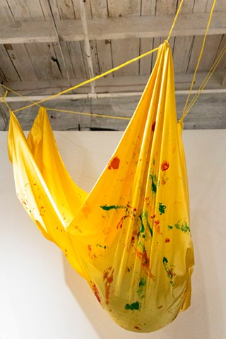 fabric art installation yellow satin painting by Robyn LeRoy-Evans