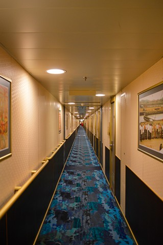photograph of cruise ship interior passageway hallway by Robyn LeRoy-Evans