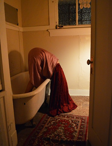 photograph of woman surreal bathtub voyeur bathroom drapery night by Robyn LeRoy-Evans
