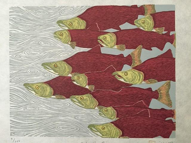 Nine color, multi-block woodblock print, hand-printed on Rives heavyweight