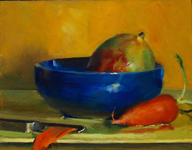 Mango, carrot and blue bowl