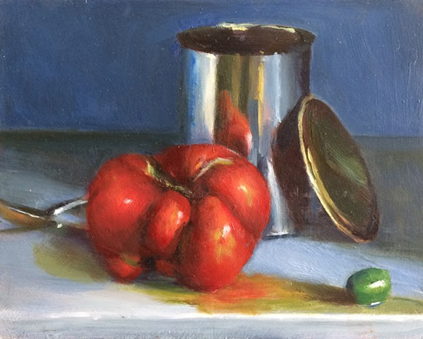 Heirloom tomato,olive and tin can