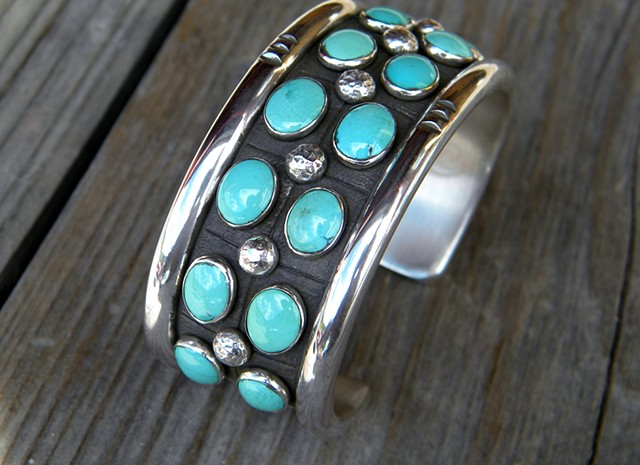 Two row silver and turquoise cuff