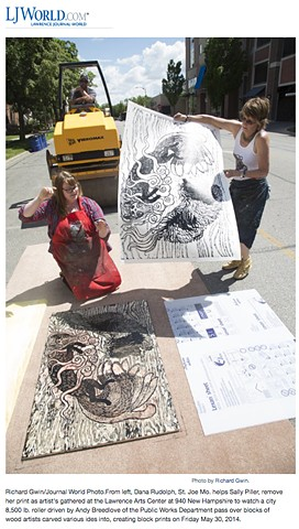 Artists utilize steamroller in large-scale printmaking