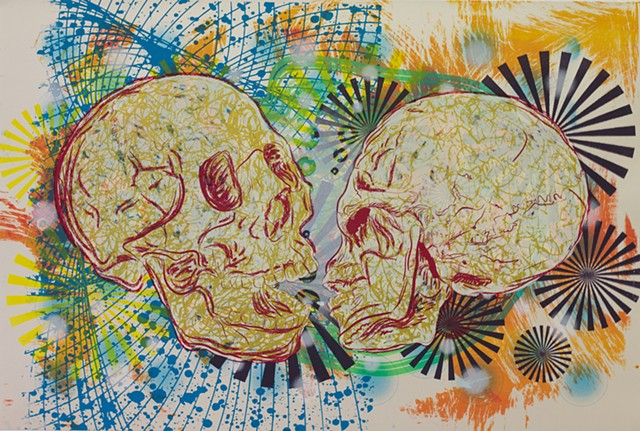 screen print, skulls, south texas, printmaking, guns, kissing skulls
