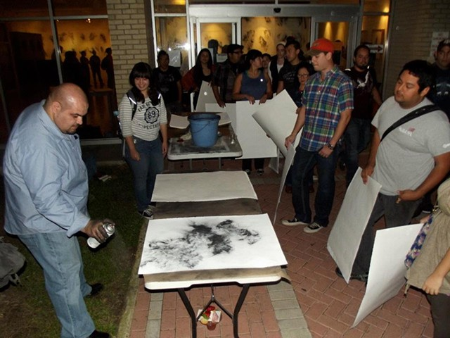 Students were invited to create their own drawings to contribute to the installation.