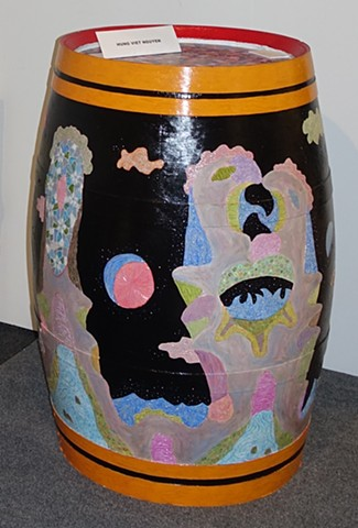 Personages on Wine barrel