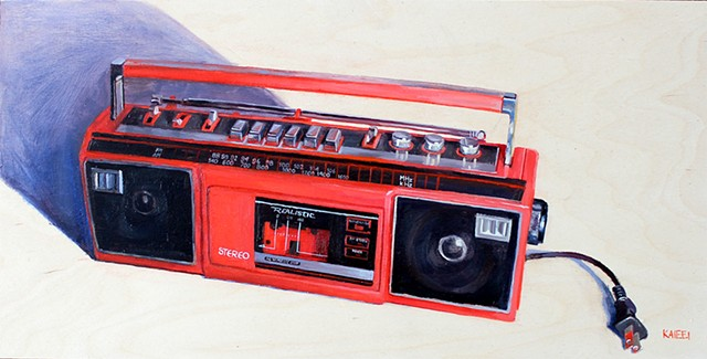 Red Cassette Tape & Radio Player