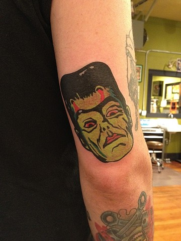 frankenstein portrait tattoo by Bradley Delay