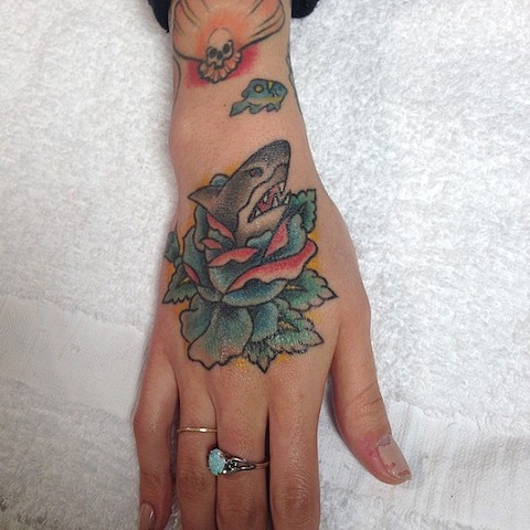 Shark and Blue Rose tattoo by Bradley Delay