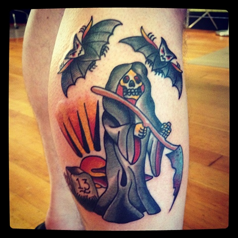 Reaper tattoo by Bradley Delay
