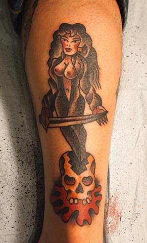 Bert Krak Pin-Up tattoo by Bradley Delay