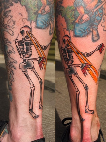 Laser Skeleton tattoo by Bradley Delay