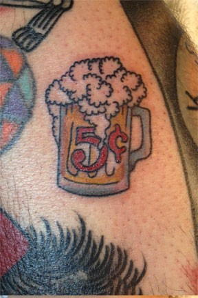 Beer tattoo by Bradley Delay