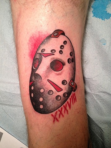 Jason Voorhees Mask tattoo by Bradley Delay