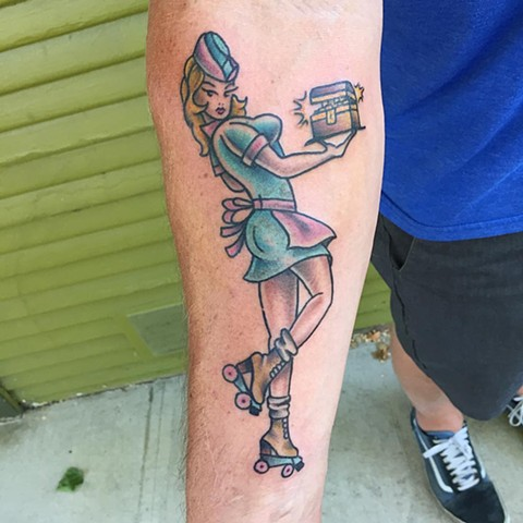 Traditional Pin Up Girl made by Brad Delay at Historic Tattoo