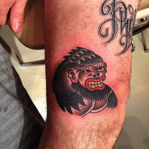 Gorilla tattoo by Bradley Delay