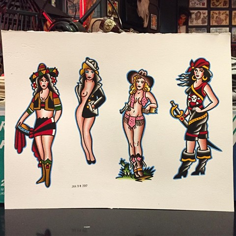 Pin Up Girl Tattoo Flash by Brad Delay