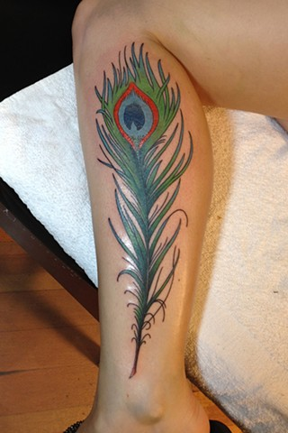 Peacock Feather tattoo by Bradley Delay