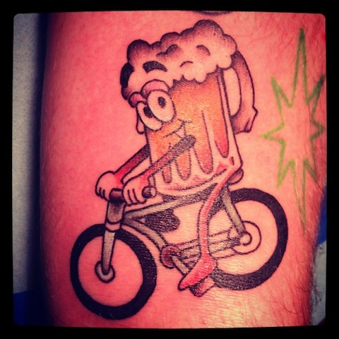 Bike and Beer tattoo by Bradley Delay
