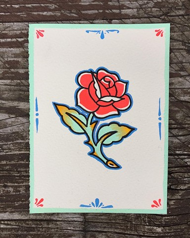 Rose tattoo flash by Brad Delay