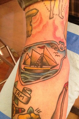 Ship In A Bottle tattoo by Bradley Delay