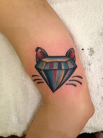 diamond cat tattoo by Bradley Delay